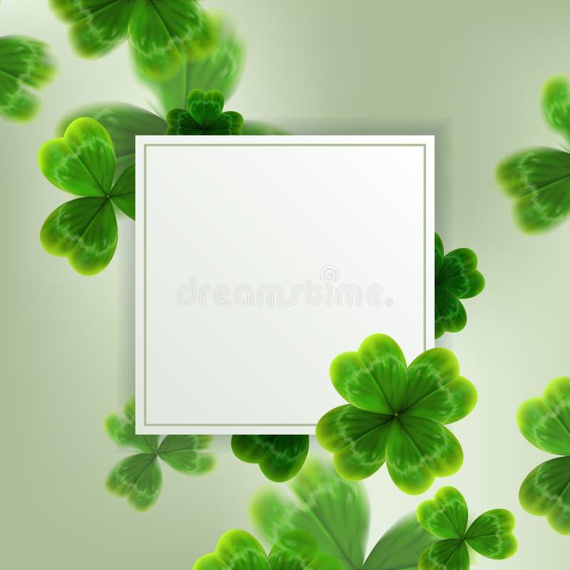 Kaart op St Patrick ` s Dag 3d effect klavervector stock illustratie