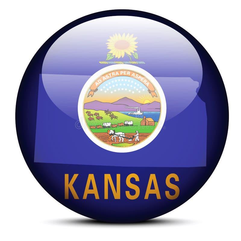 Kaart op vlagknoop van de Staat van de V.S. Kansas royalty-vrije illustratie
