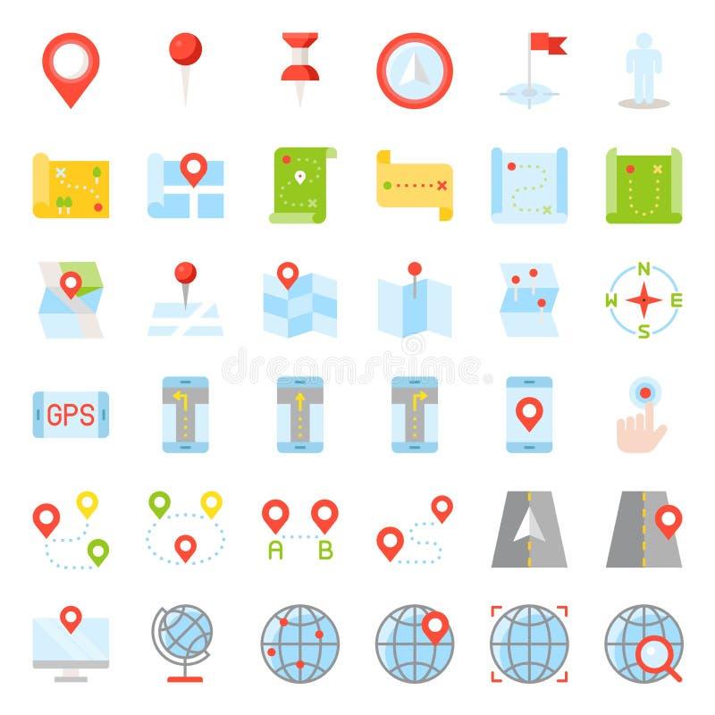 Kaart, plaats, speld en pictogram van het navigatie het vector vlakke ontwerp royalty-vrije illustratie