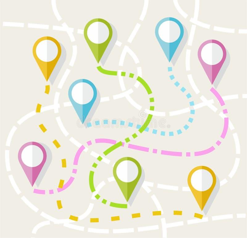Kaart, route, richting, weg, navigatie, vlakke kleur, royalty-vrije illustratie