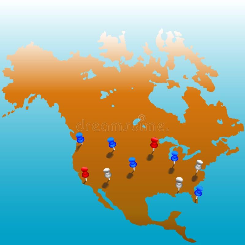 Kaart Tacks_US wereldwijd royalty-vrije illustratie