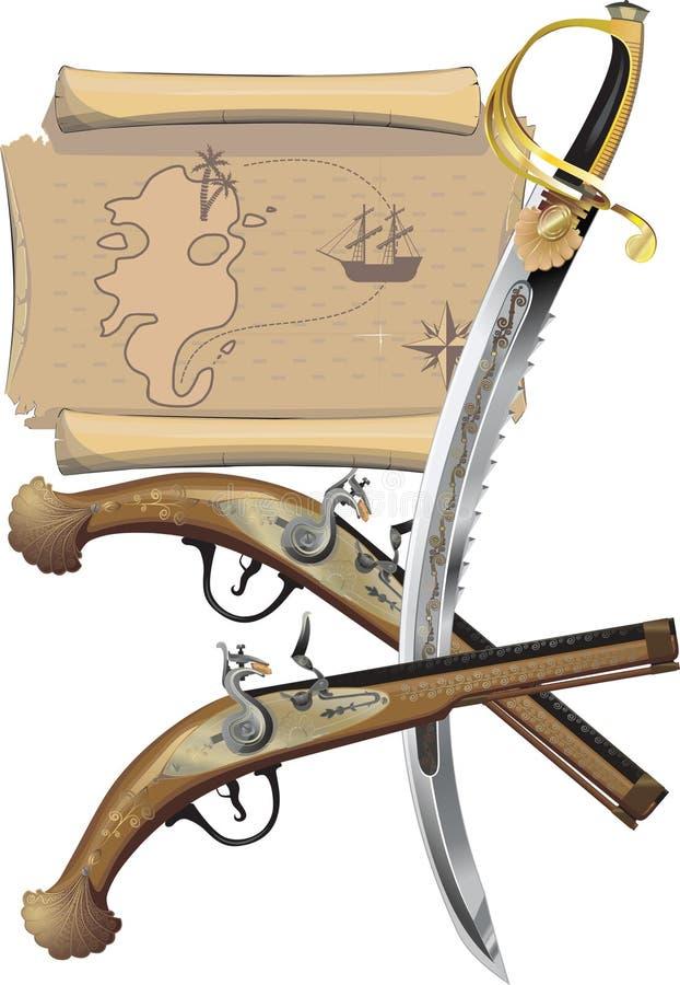 Kaart, twee Pistolen, en piraatZwaard stock illustratie