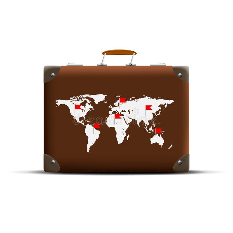 Kaart van Aarde op een bruine koffer royalty-vrije illustratie