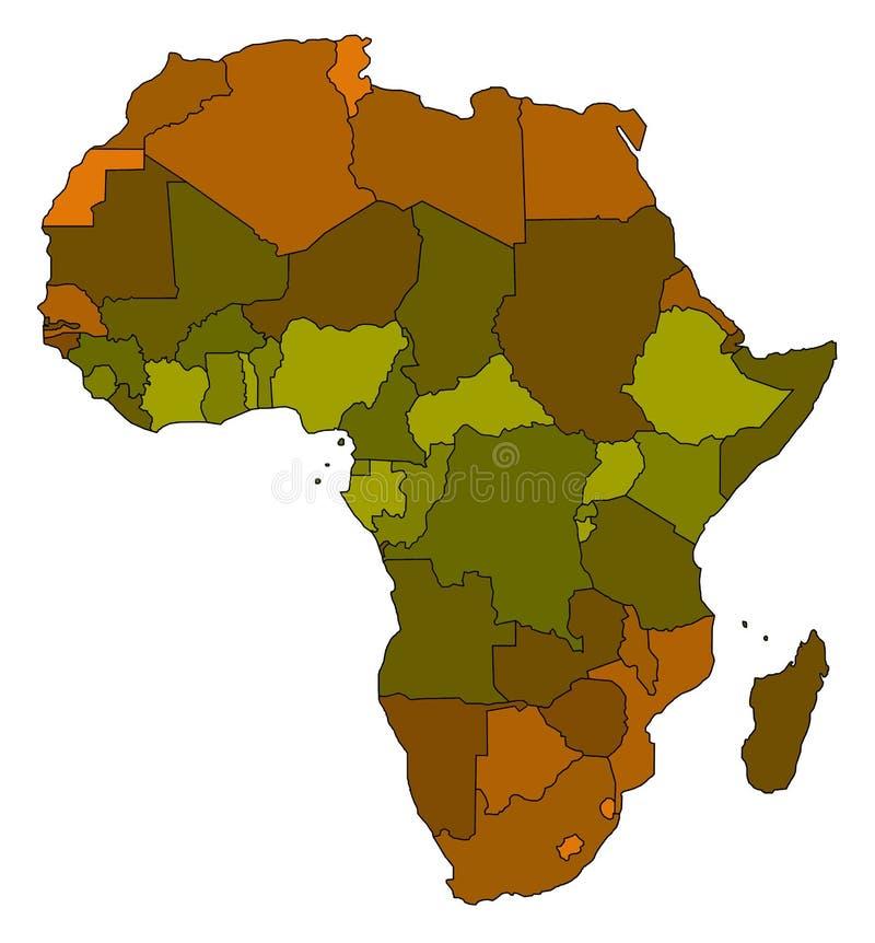 Kaart van Afrika stock illustratie