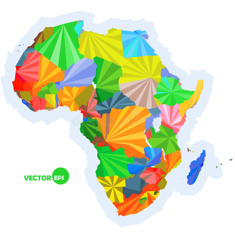Kaart van Afrika conceptenkaart met binnen kaart van Afrika van landen de Kleurrijke, abstract infographic ontwerp als achtergron royalty-vrije illustratie