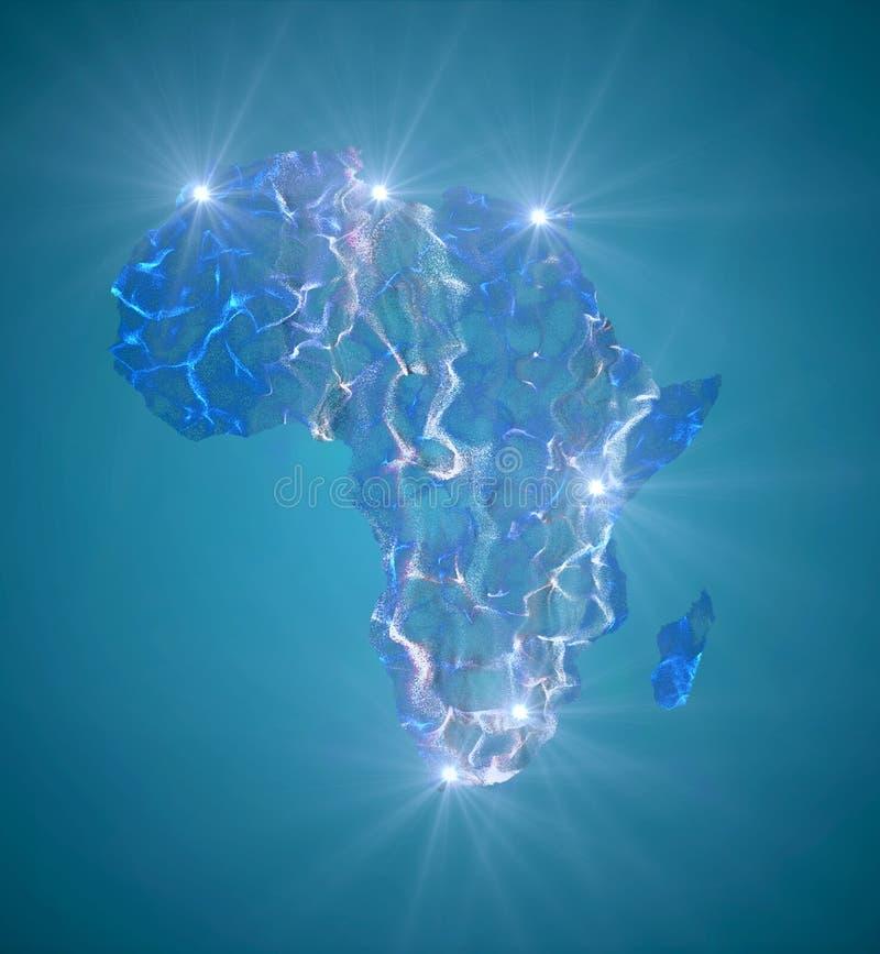 Kaart van Afrika met grote steden duidelijk met een licht stock fotografie