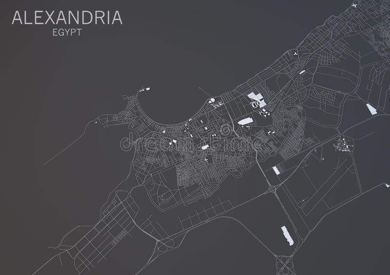Kaart van Alexandrië, Egypte, satellietmening