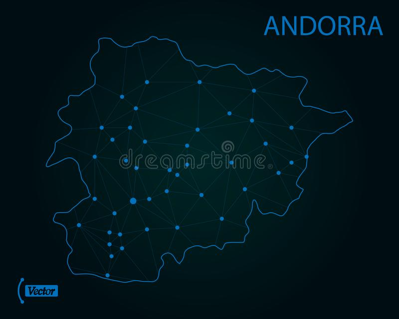 Kaart van Andorra Vector illustratie De kaart van de wereld vector illustratie