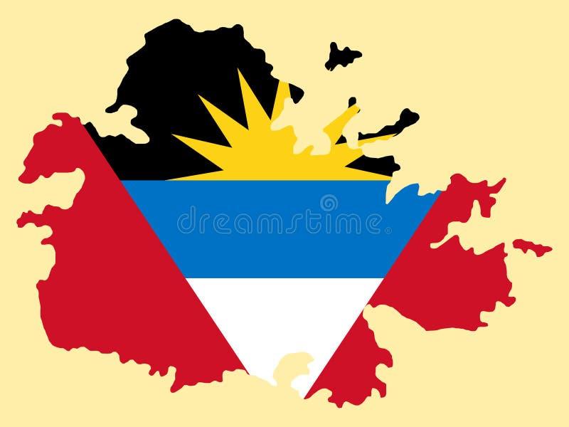 Kaart van Antigua en Barbuda royalty-vrije illustratie