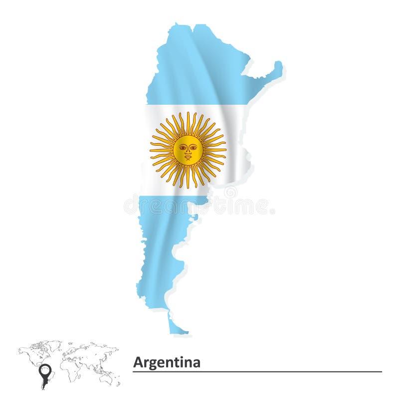 Kaart van Argentinië met vlag stock illustratie