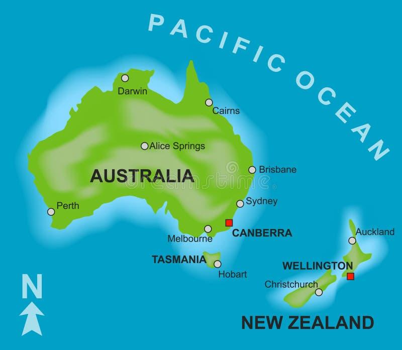 Kaart van Australië en Nieuw Zeeland royalty-vrije illustratie