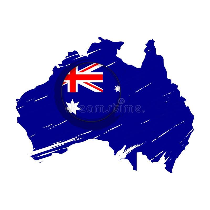 Kaart van Australië met een etiket vector illustratie