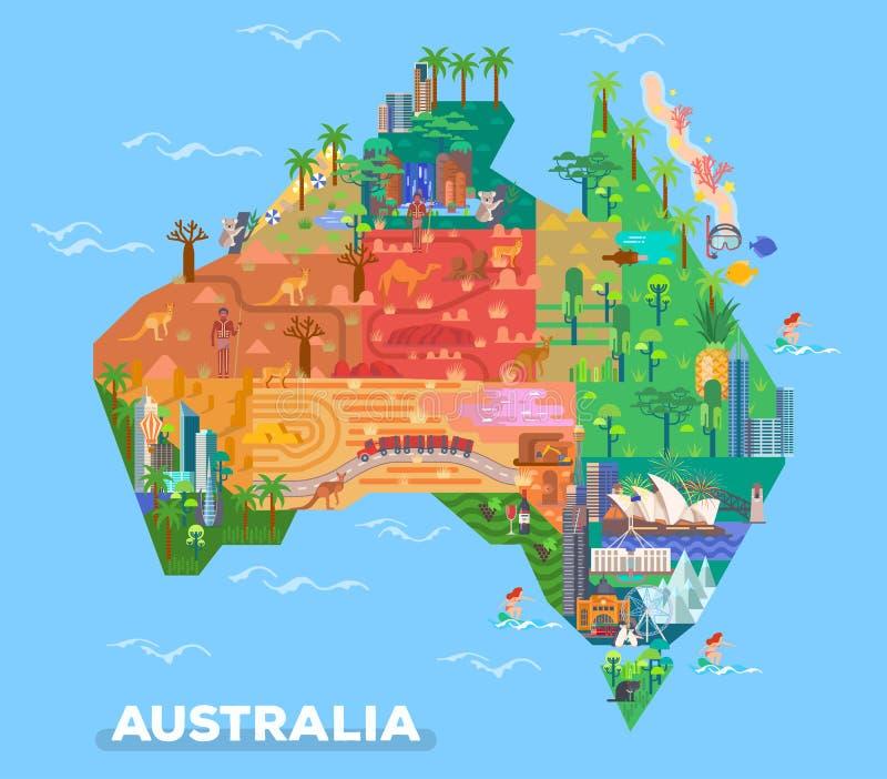 Kaart van Australië met oriëntatiepunten van architectuur stock illustratie