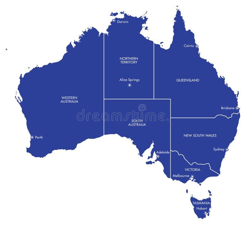 Kaart van Australië met Steden en Staten stock illustratie