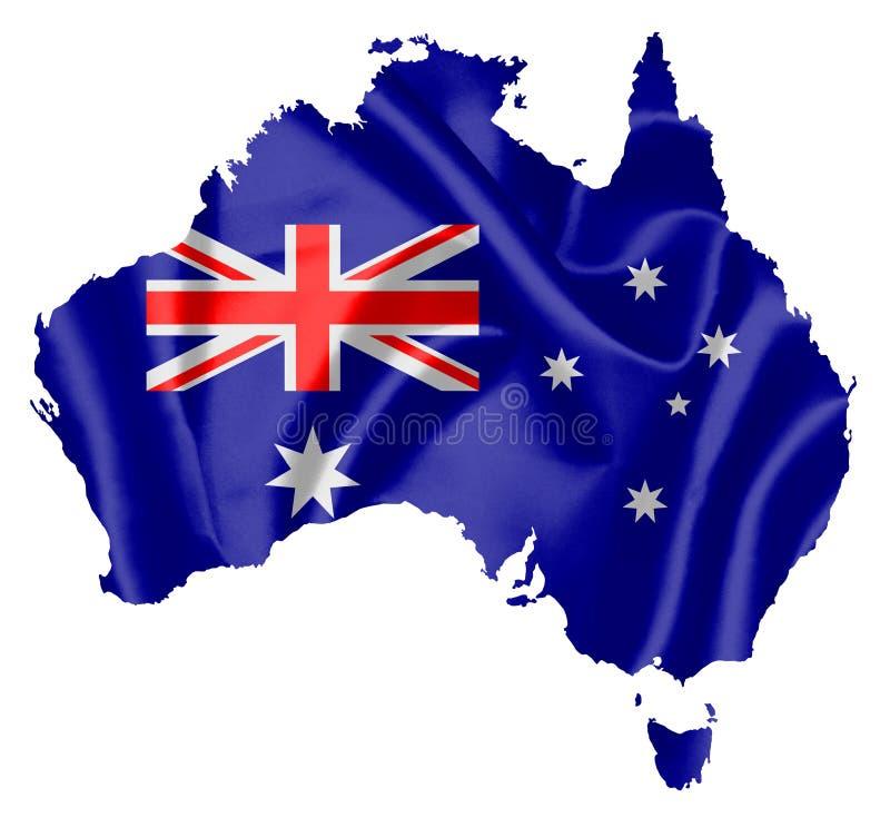 Kaart van Australië met vlag vector illustratie