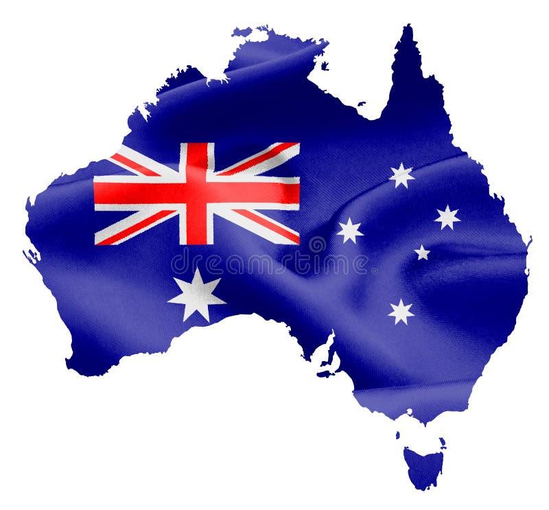Kaart van Australië met vlag stock illustratie