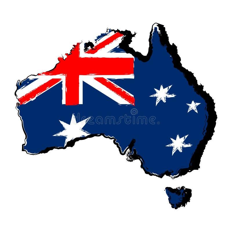 Kaart van Australië met vlag royalty-vrije illustratie