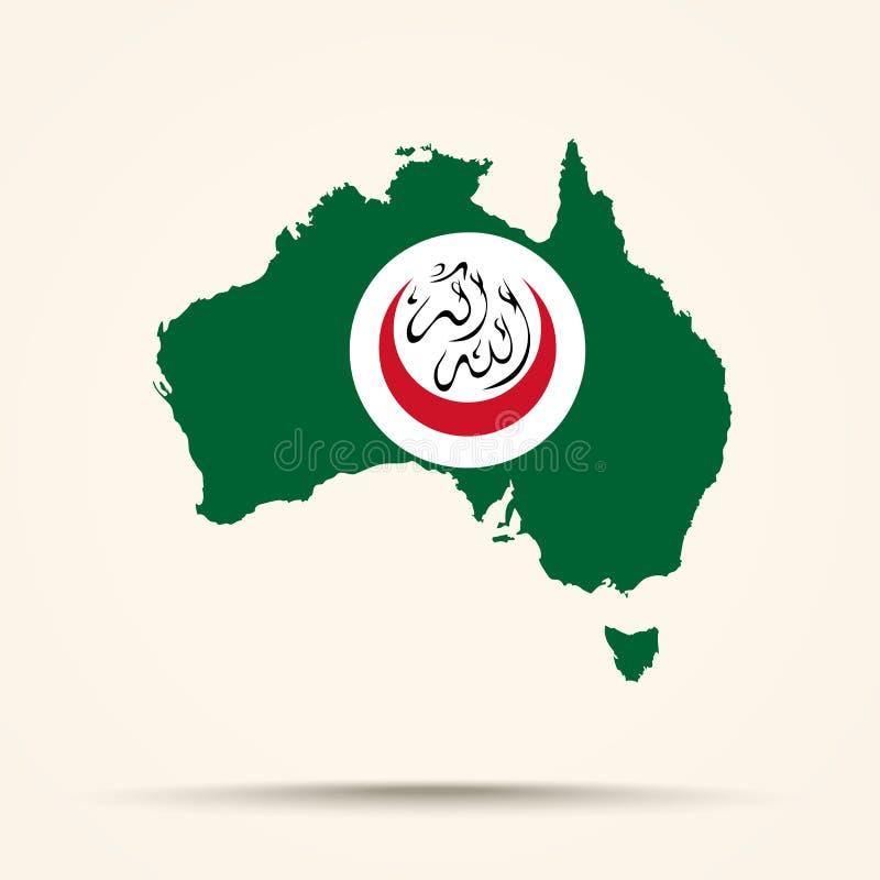 Kaart van Australië in Organisatie van Islamitisch col. van de Samenwerkingsvlag royalty-vrije illustratie