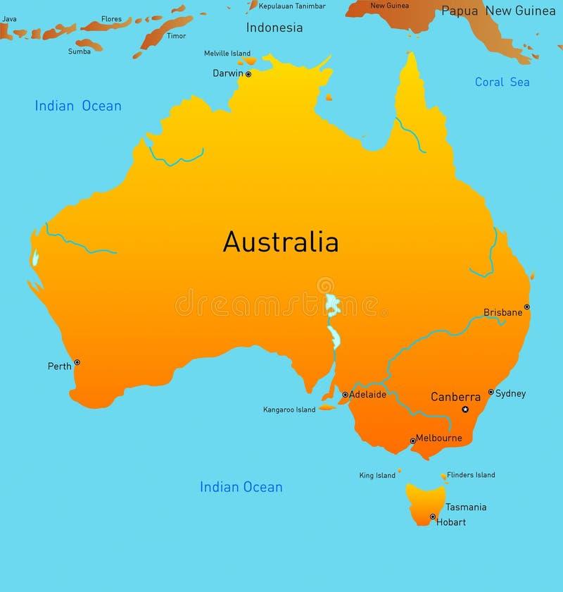 Kaart van Australisch continent royalty-vrije illustratie