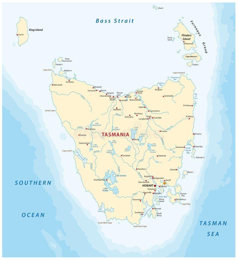 Kaart van Australisch IJsland Tasmanige stock illustratie