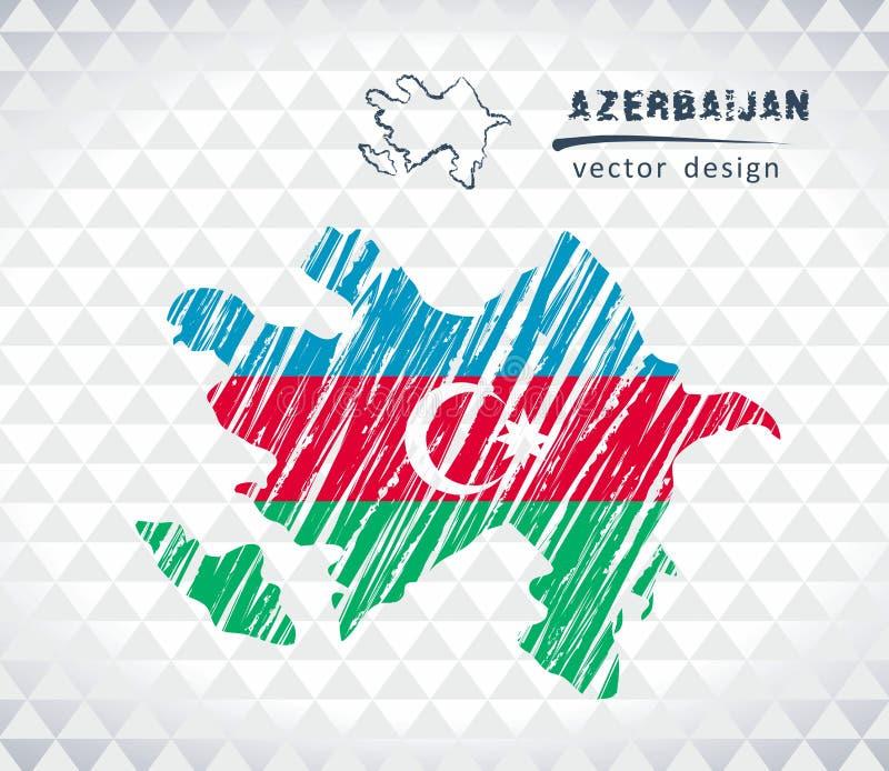 Kaart van Azerbeidzjan met de hand getrokken binnen kaart van de schetspen Vector illustratie royalty-vrije illustratie