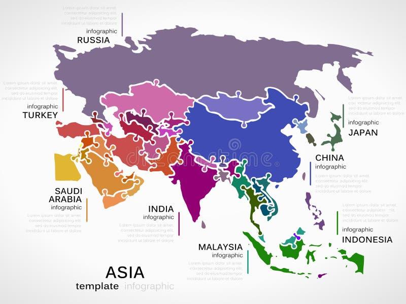 Kaart van Azië vector illustratie