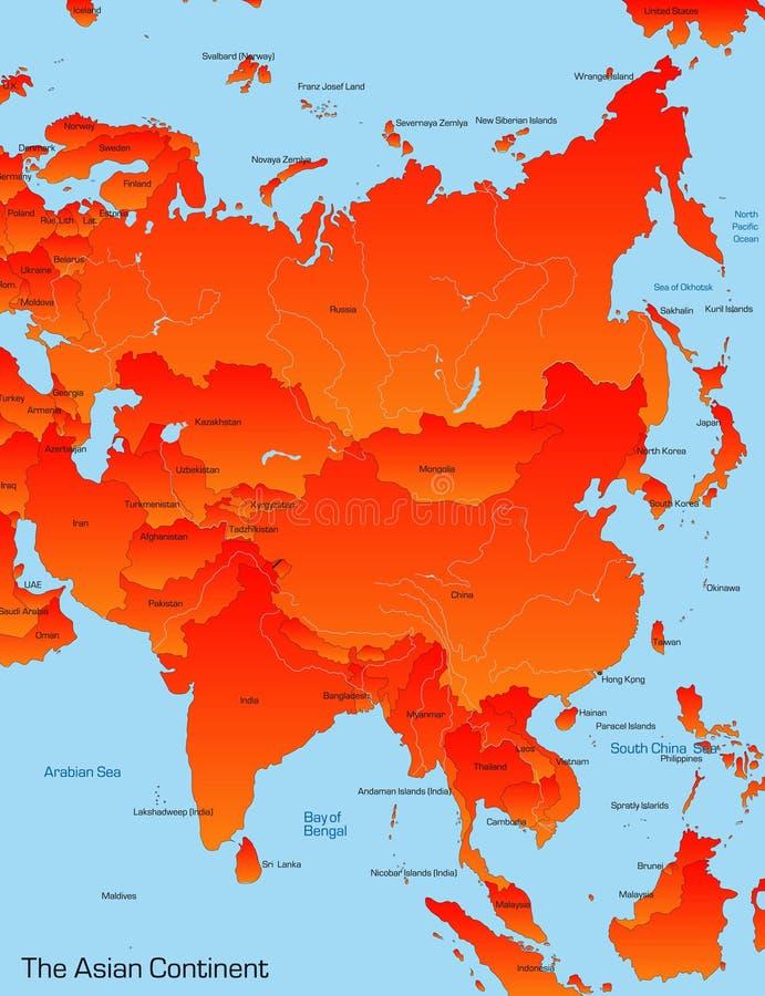Kaart van Aziatisch continent stock illustratie