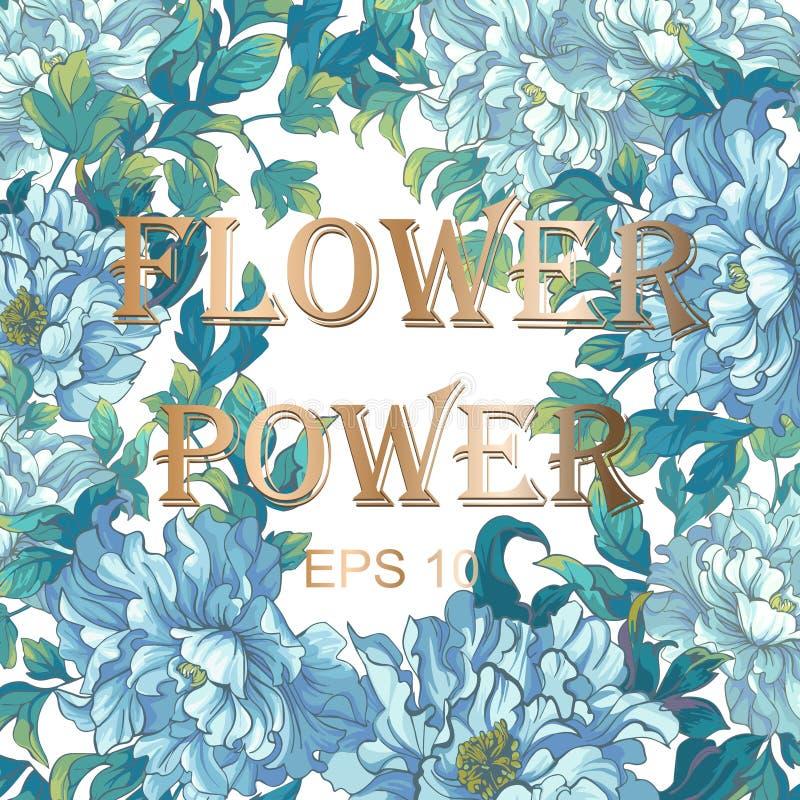 Kaart van Aziatische blauwe bloemenpioenen royalty-vrije illustratie