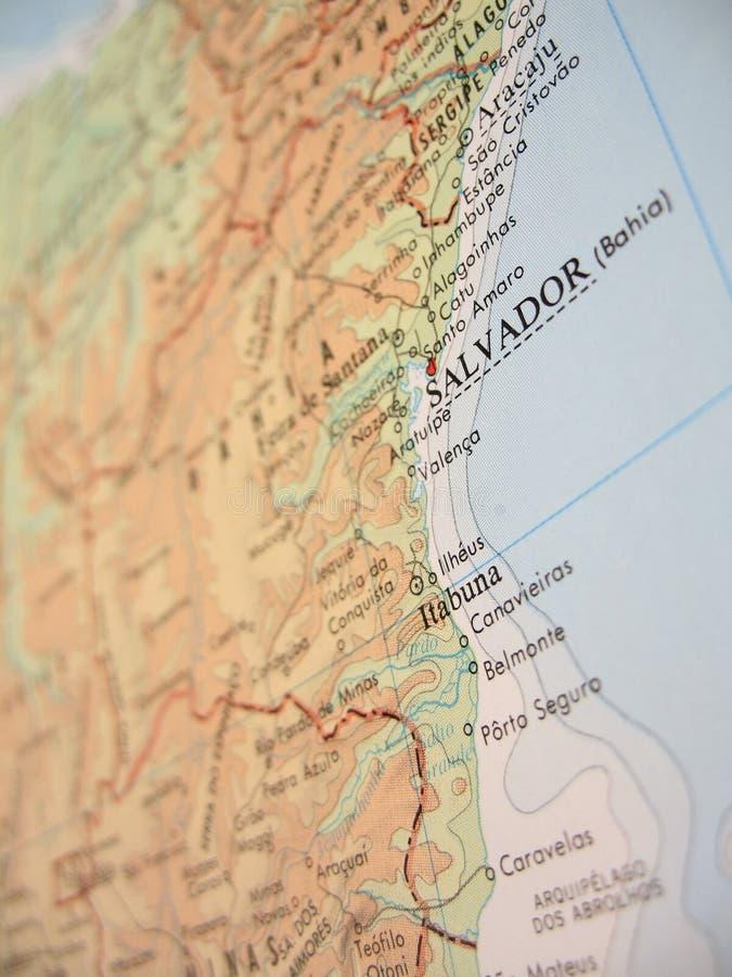 Kaart van Bahia, Brazilië - 2 stock fotografie