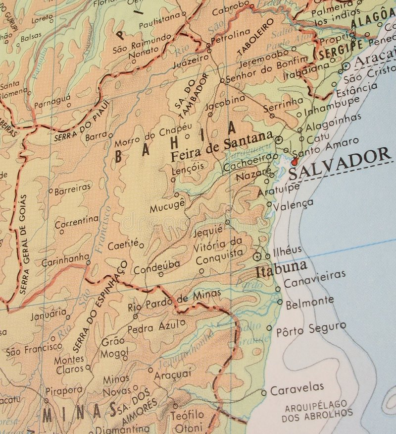 Kaart van Bahia, Brazilië - 3 stock fotografie