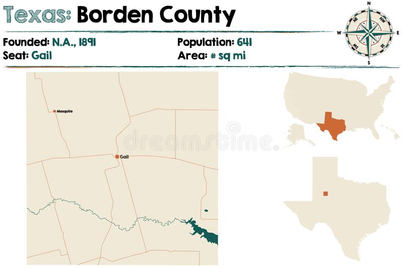 Kaart van Borden-provincie in Texas stock illustratie