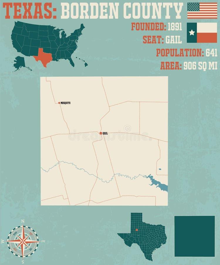Kaart van Borden-provincie in Texas royalty-vrije illustratie