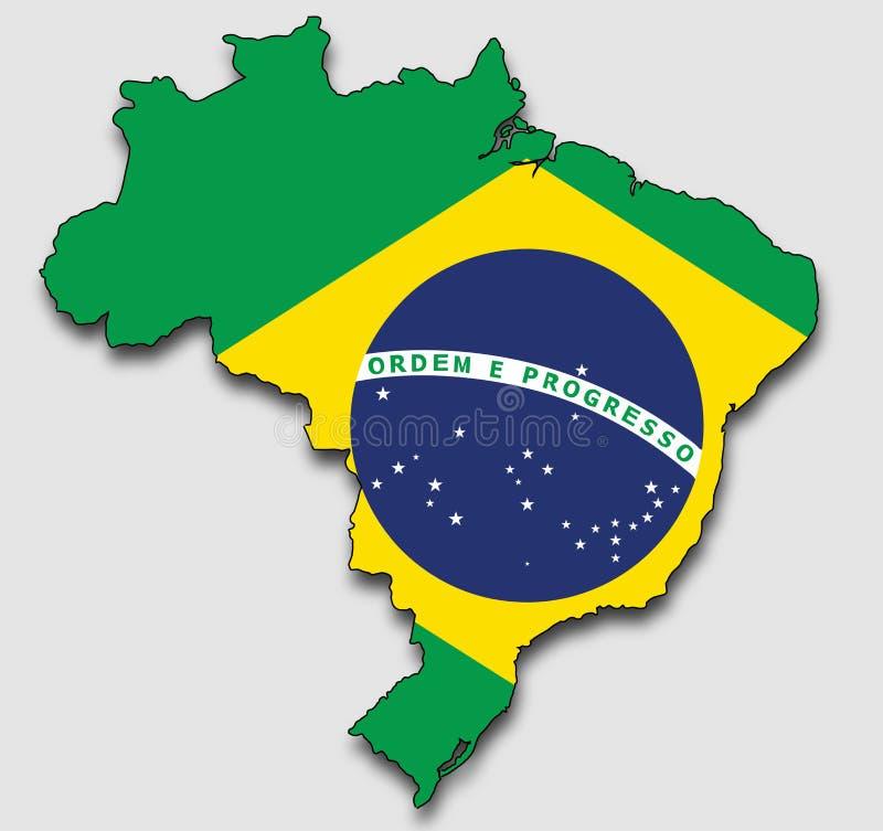 Kaart van Brazilië, met de Nationale Vlag wordt gevuld die royalty-vrije illustratie