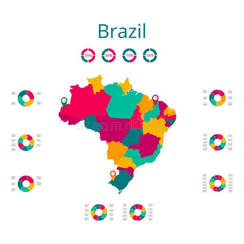 Kaart van Brazilië Vectorbeeld van een globale kaart in de vorm van de gebieden van gebieden in Italië Gemakkelijk uit te geven vector illustratie