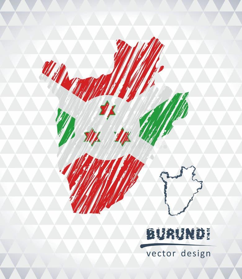 Kaart van Burundi met de hand getrokken binnen kaart van de schetspen Vector illustratie royalty-vrije illustratie