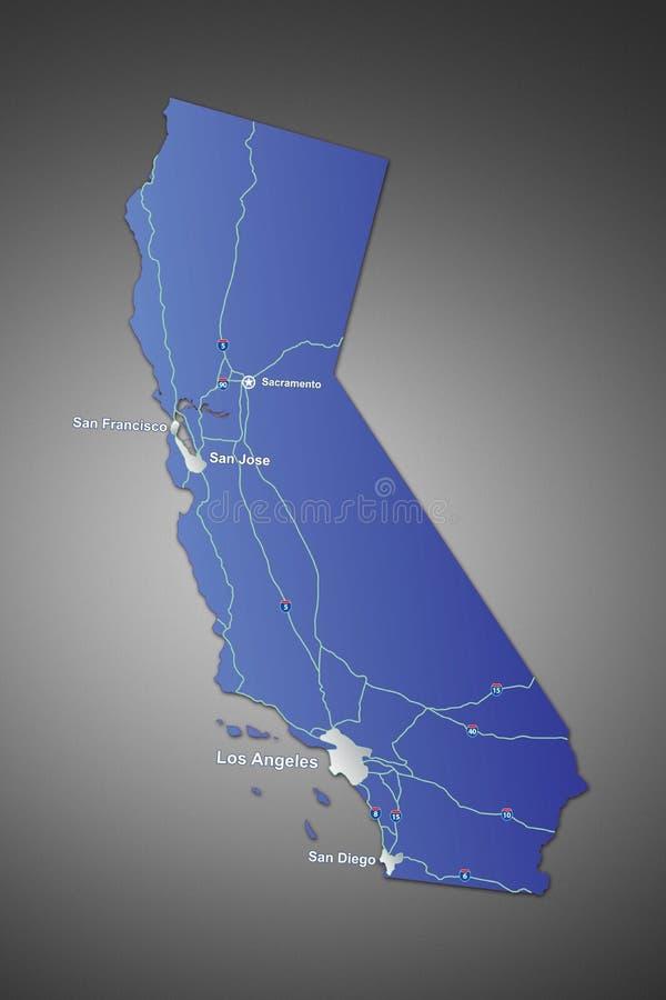 Kaart van Californië stock afbeelding