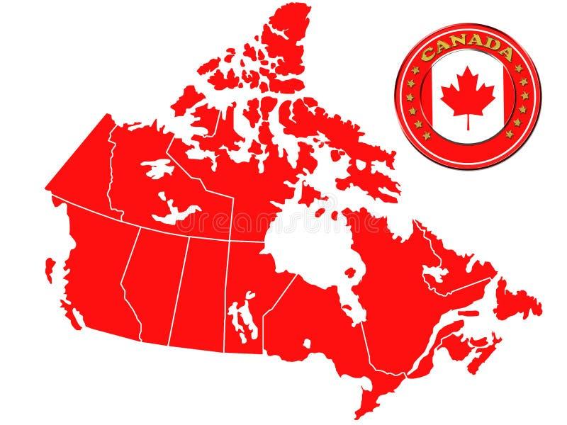 Kaart van Canada royalty-vrije illustratie