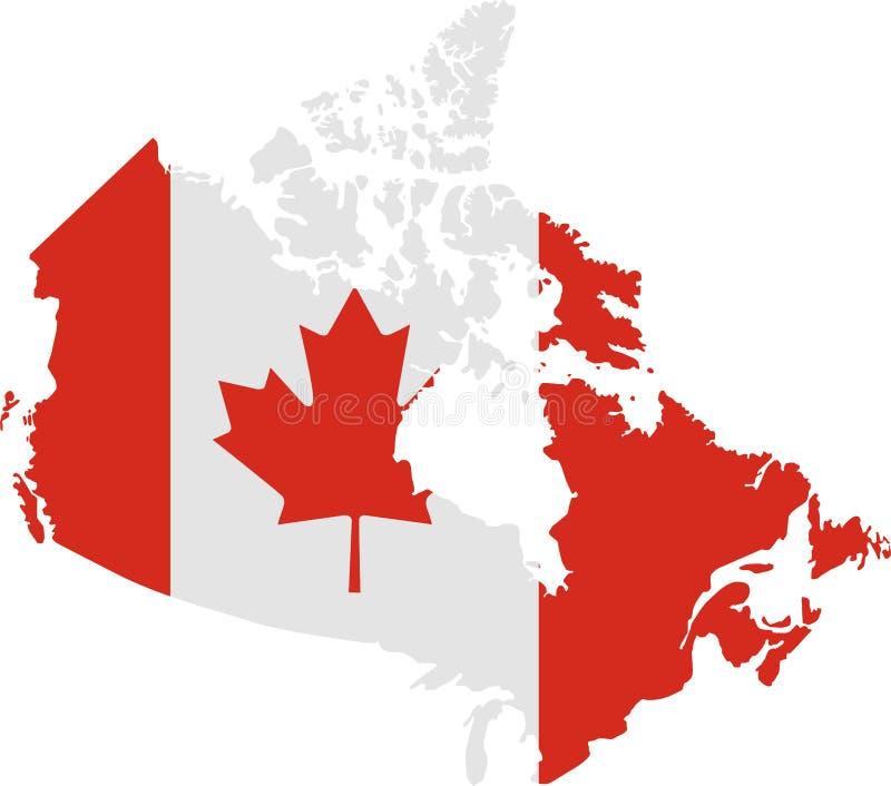 Kaart van Canada met vlag stock illustratie