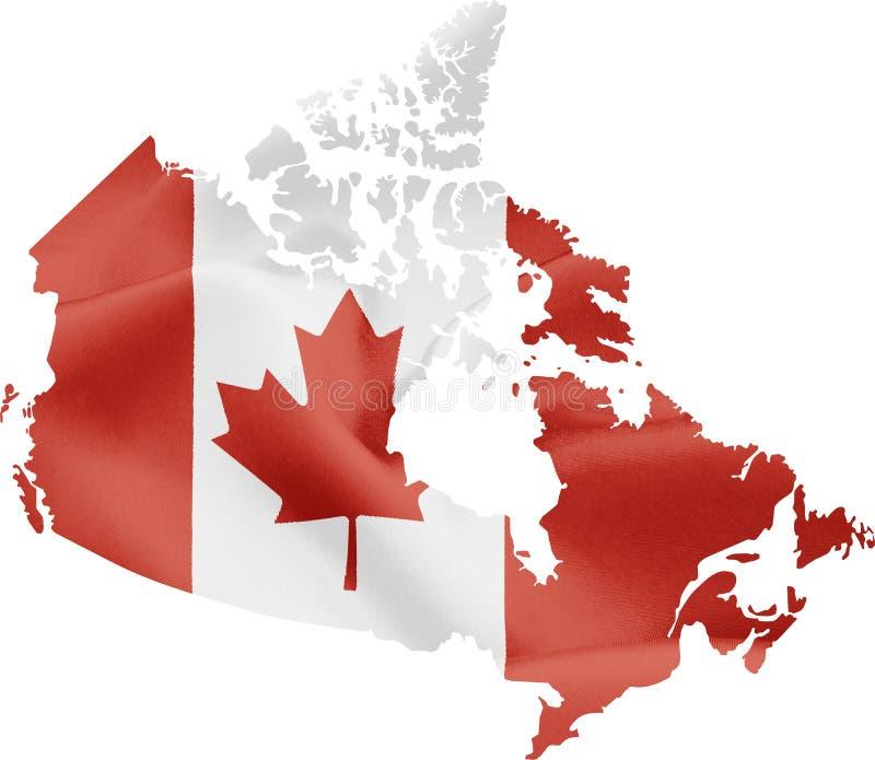 Kaart van Canada met vlag royalty-vrije illustratie