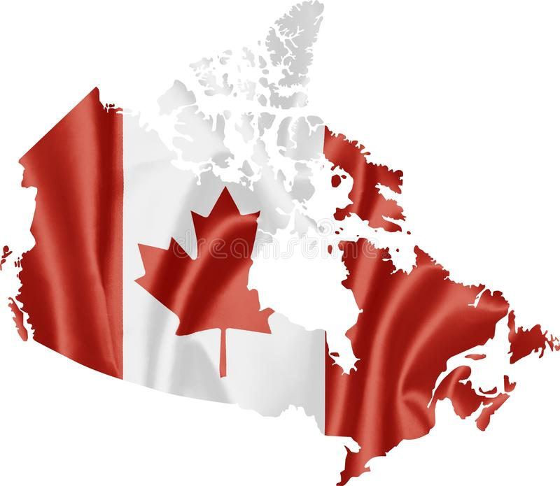 Kaart van Canada met vlag vector illustratie