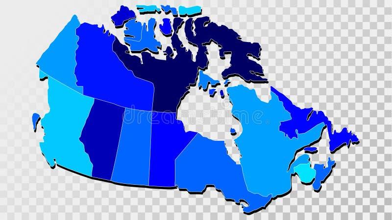 Kaart van Canada in Schaduwen van Blauw vector illustratie