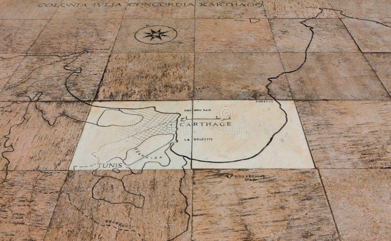 Kaart van Carthago royalty-vrije stock foto's