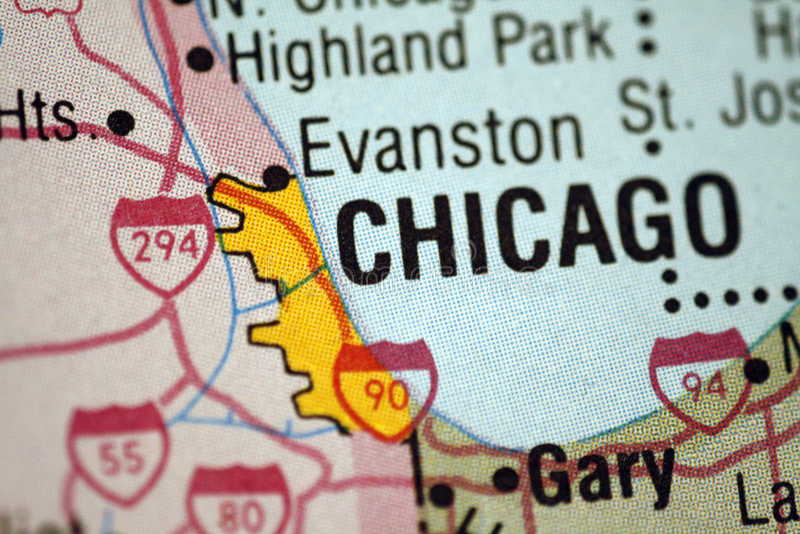 Kaart Van Chicago Illinois Stock Afbeeldingen