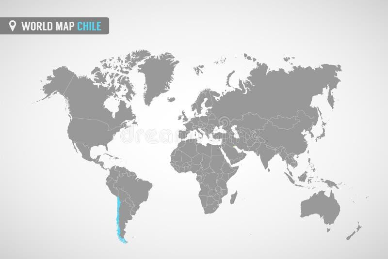 Kaart van Chili   royalty-vrije illustratie