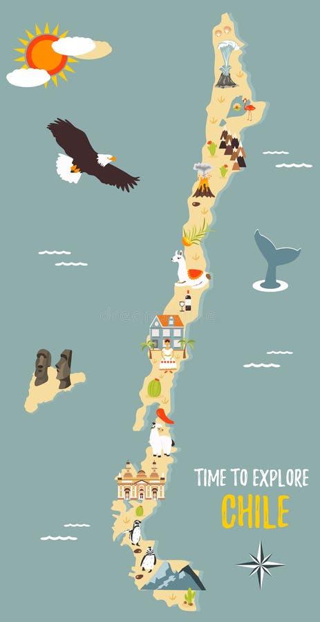 Kaart van Chili met bestemmingen, dieren, oriëntatiepunten vector illustratie