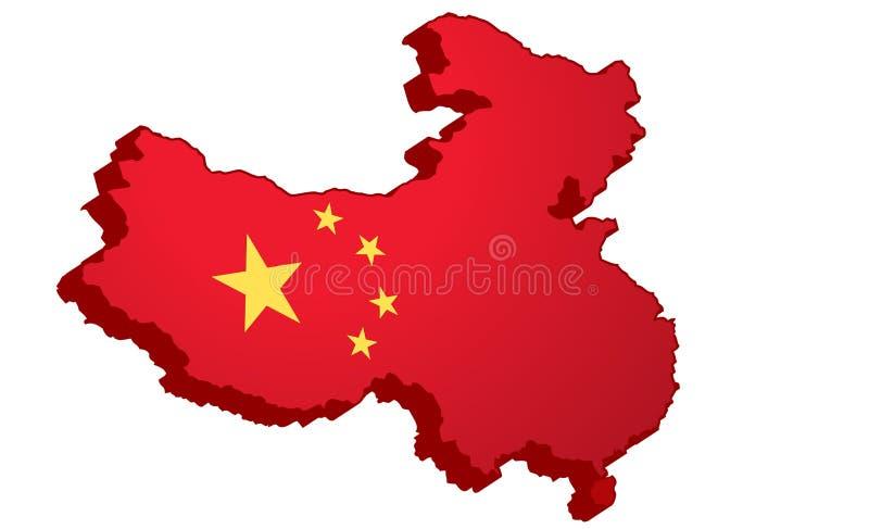 Kaart van China in 3D stock illustratie