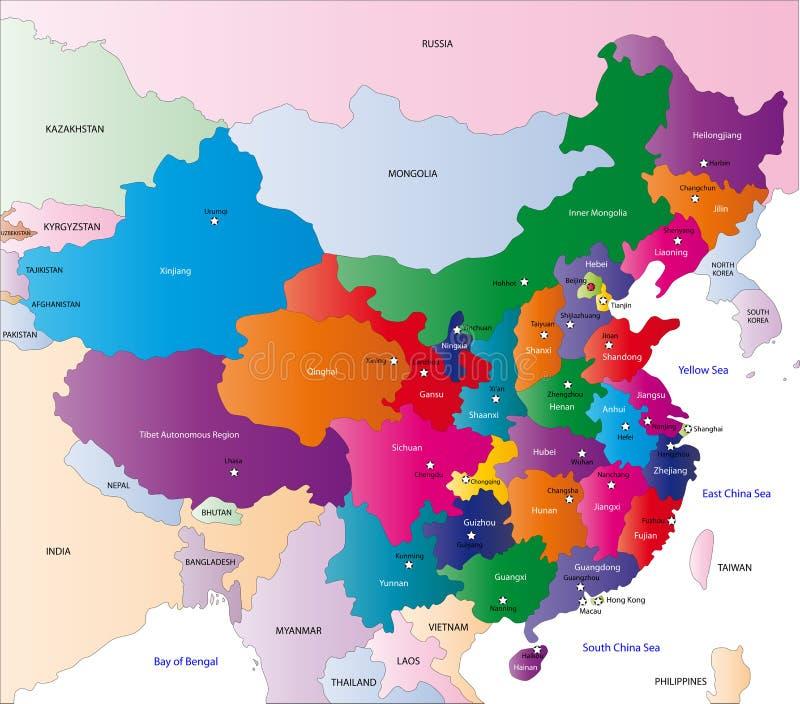 Kaart van China royalty-vrije illustratie