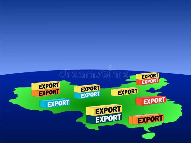 Kaart van China met containers stock illustratie
