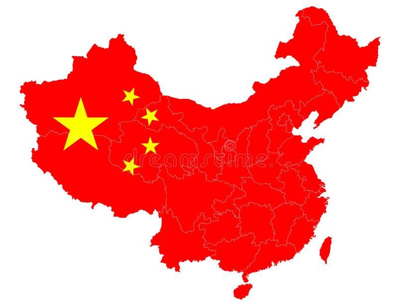 Kaart van China met de nationale vlag stock illustratie