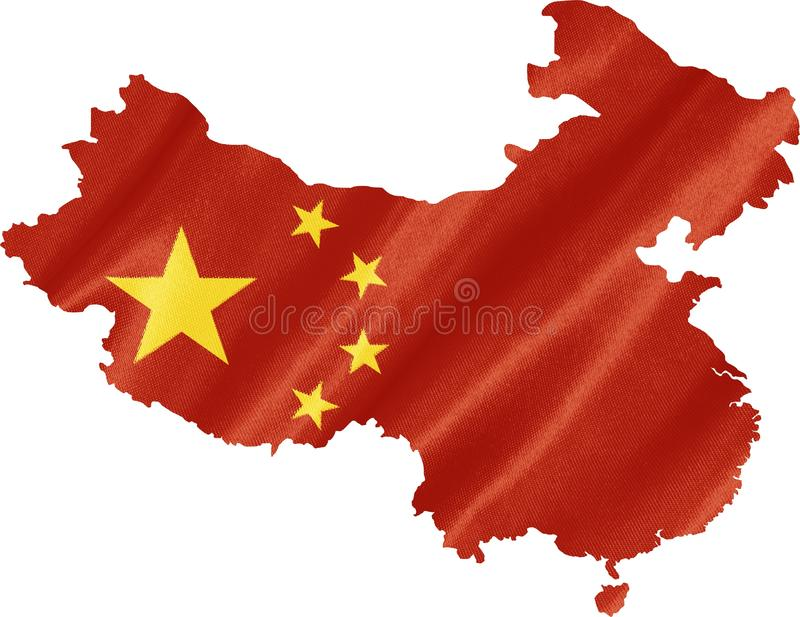 Kaart van China met Vlag stock foto's